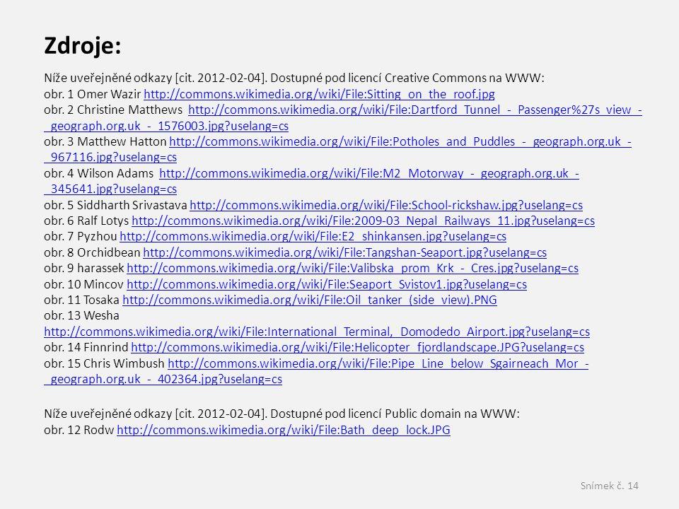 Zdroje: Níže uveřejněné odkazy [cit. 2012-02-04]. Dostupné pod licencí Creative Commons na WWW: